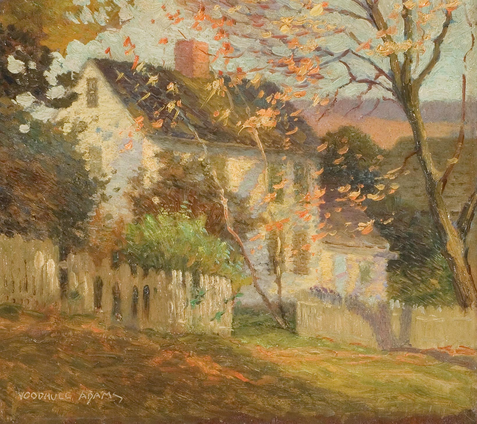 White cottage in autumn panel painting by woodhull adams florence
