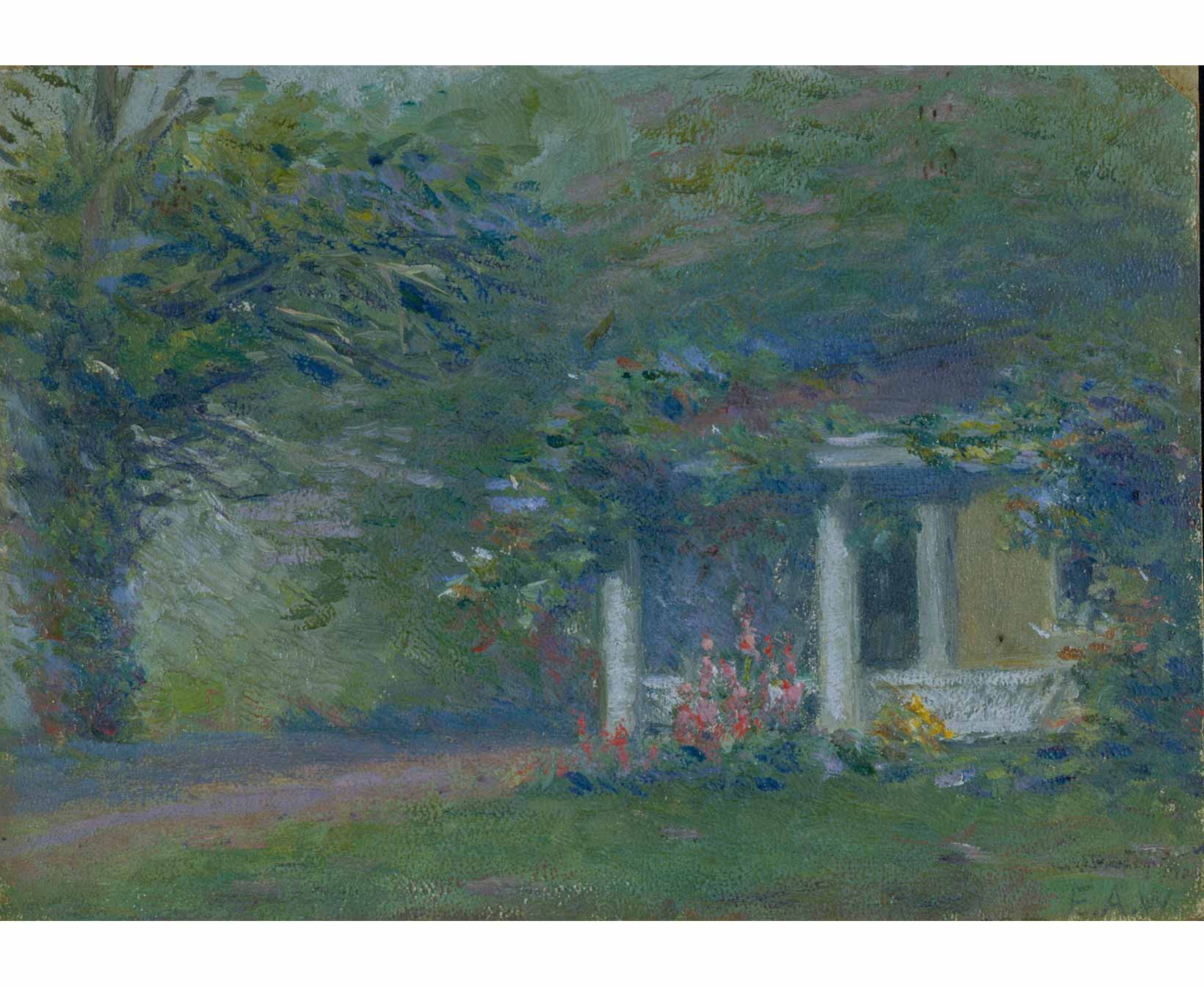 artwork of former first lady ellen axson wilson in old lyme ct ellen axson wilson 1860 1914 untitled view of the griswold house side porch oil on artist board 7 x 9