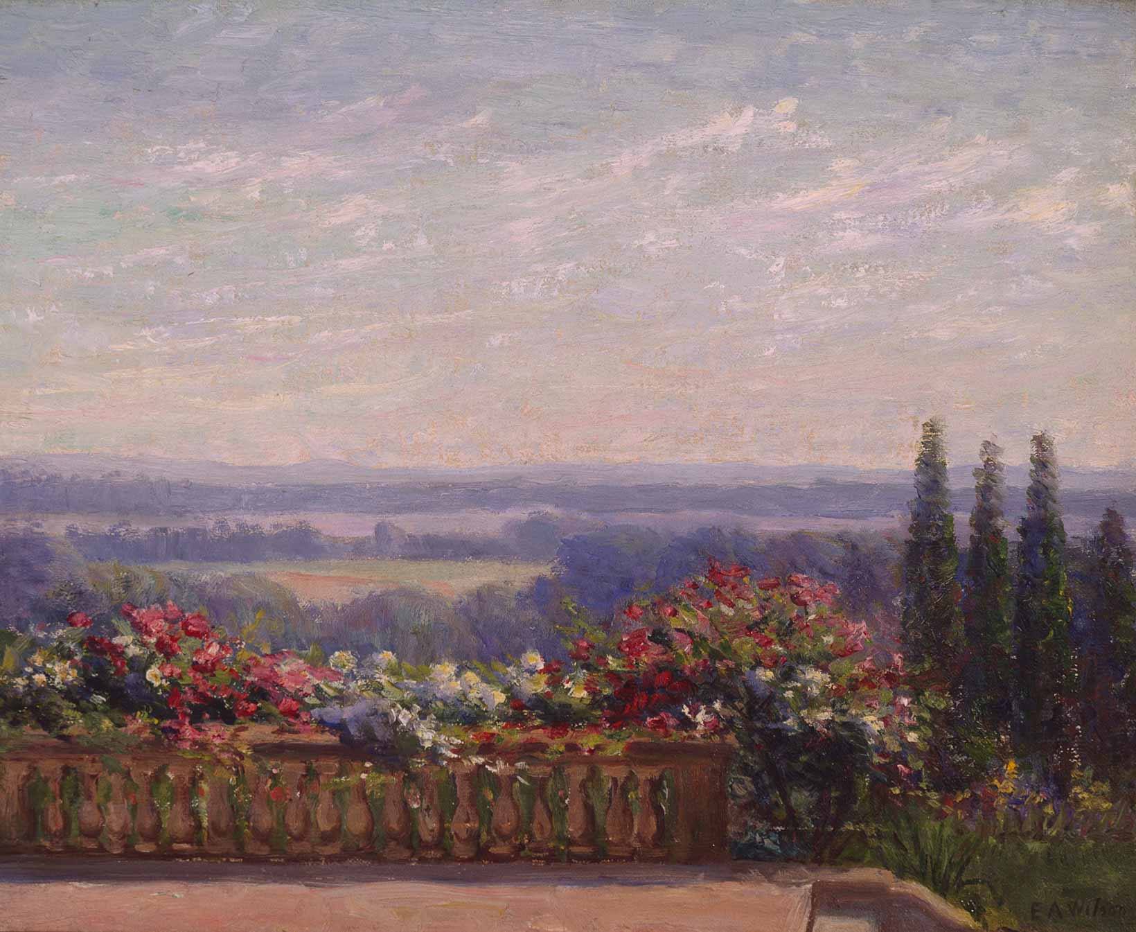 artwork of former first lady ellen axson wilson in old lyme ct ellen axson wilson 1860 1914 the terrace 1902 1910 oil on canvas 16 x 13