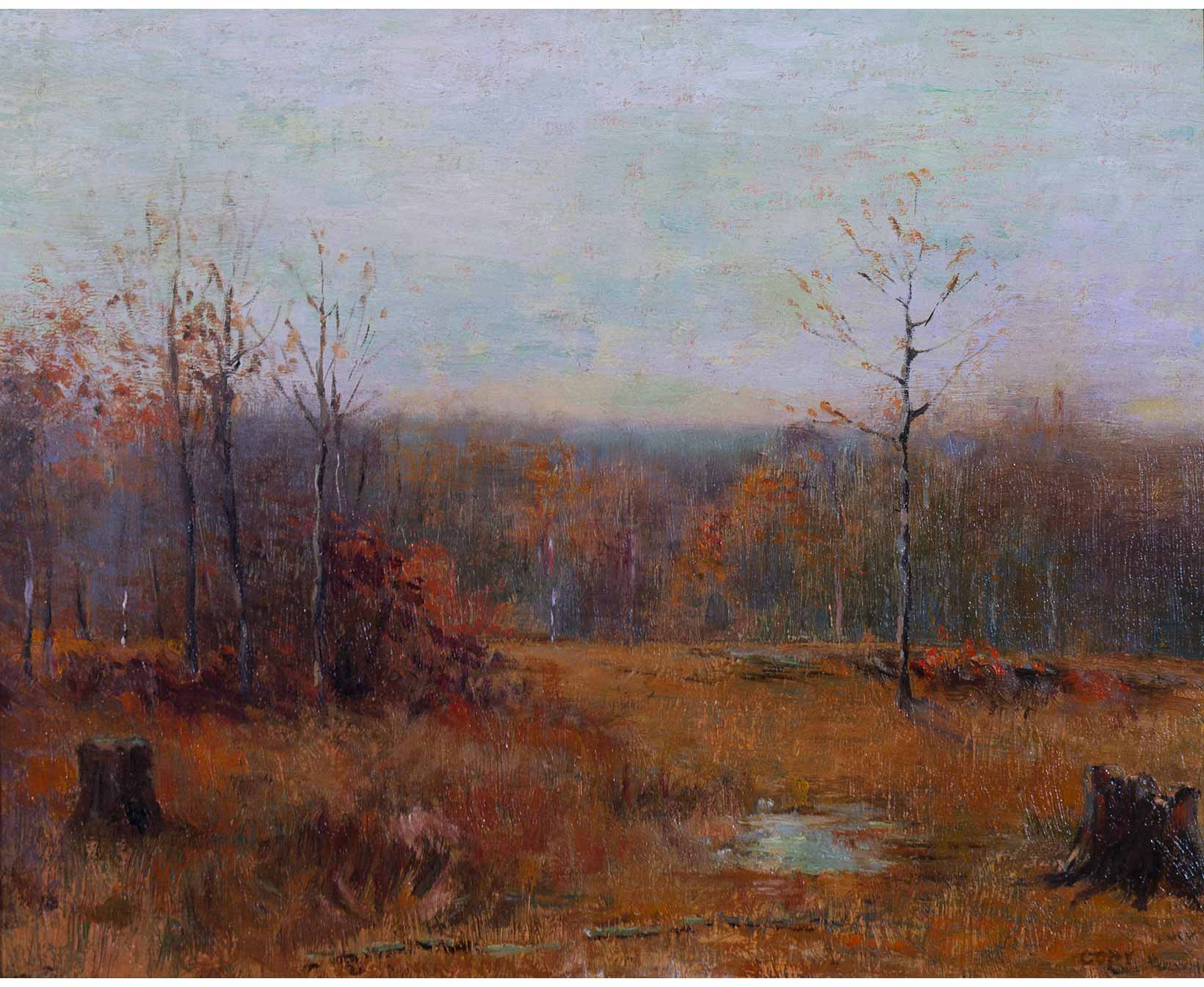 artwork of former first lady ellen axson wilson in old lyme ct ellen axson wilson landscape stumps and pond 1911 1912 oil on canvas 27 x 23 ½ woodrow wilson house a national trust historic site washington