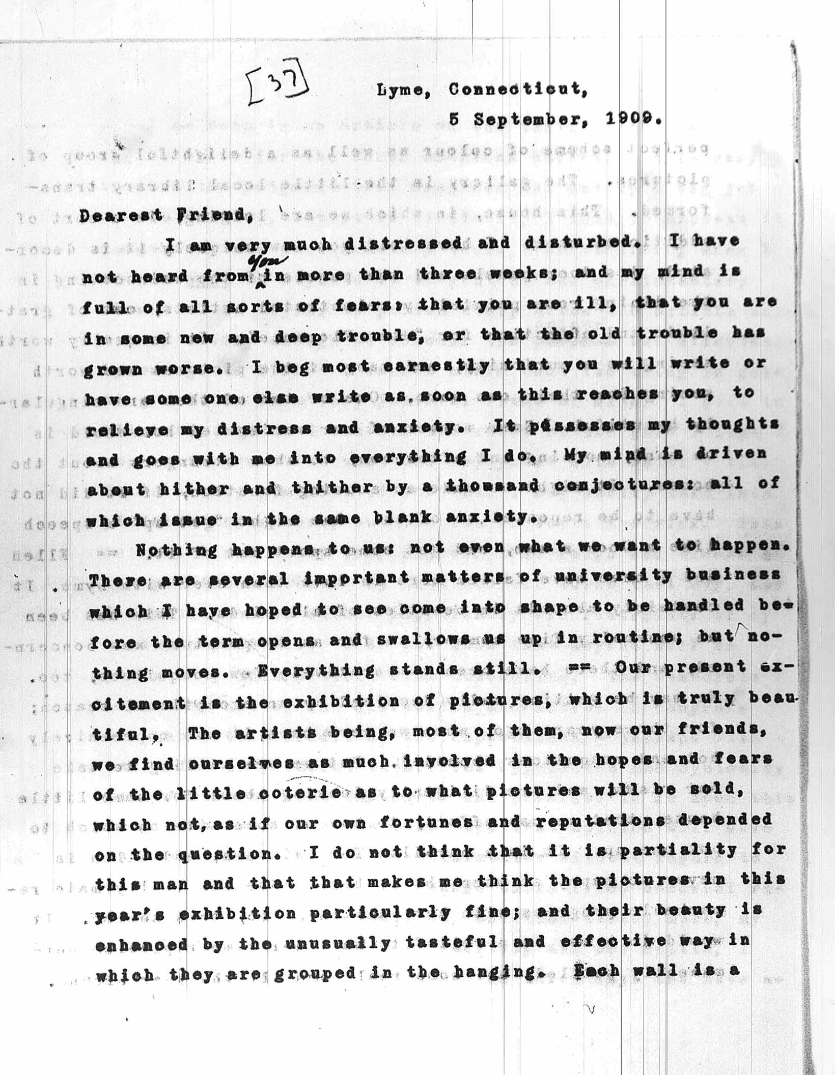 artwork of former first lady ellen axson wilson in old lyme ct 5 1909 letter from woodrow wilson to mary peck sent from lyme wilson to peck 09051909 page 1