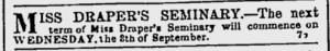 Draper Seminary ad Hartford Weekly Times Sept 11 1858