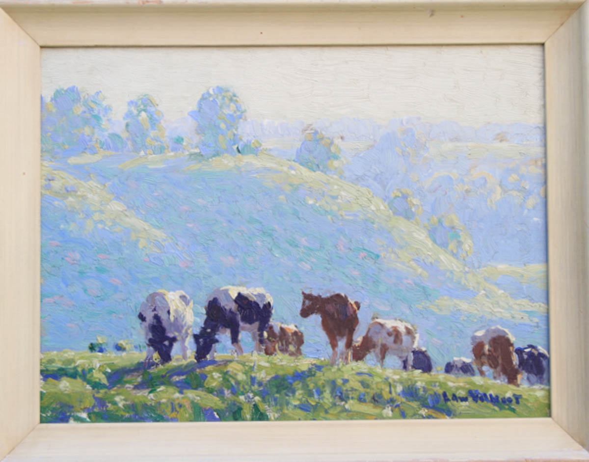 Untitled [Holsteins and Guernseys grazing on hill, blue haze in background]