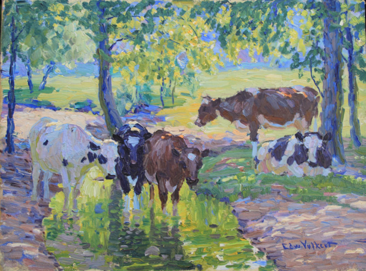 Untitled [Two Holsteins and One Guernsey in Shady Stream]