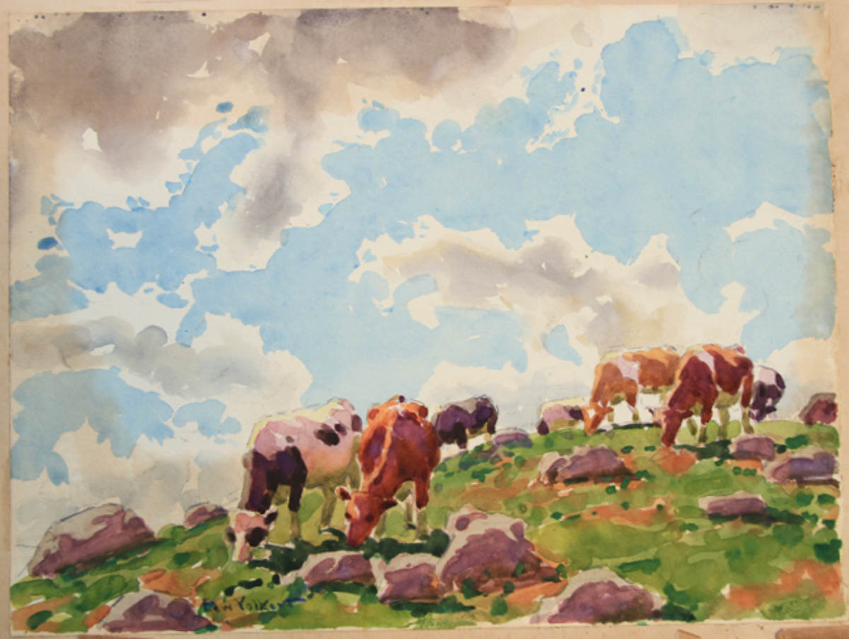 Untitled [Guernseys and Holsteins on Hill, Blue Sky with Cloud]