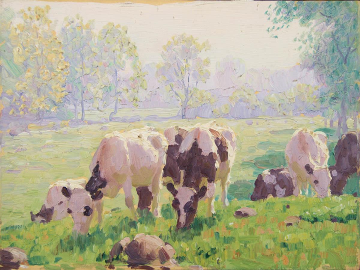 Untitled [Holsteins grazing in pasture]