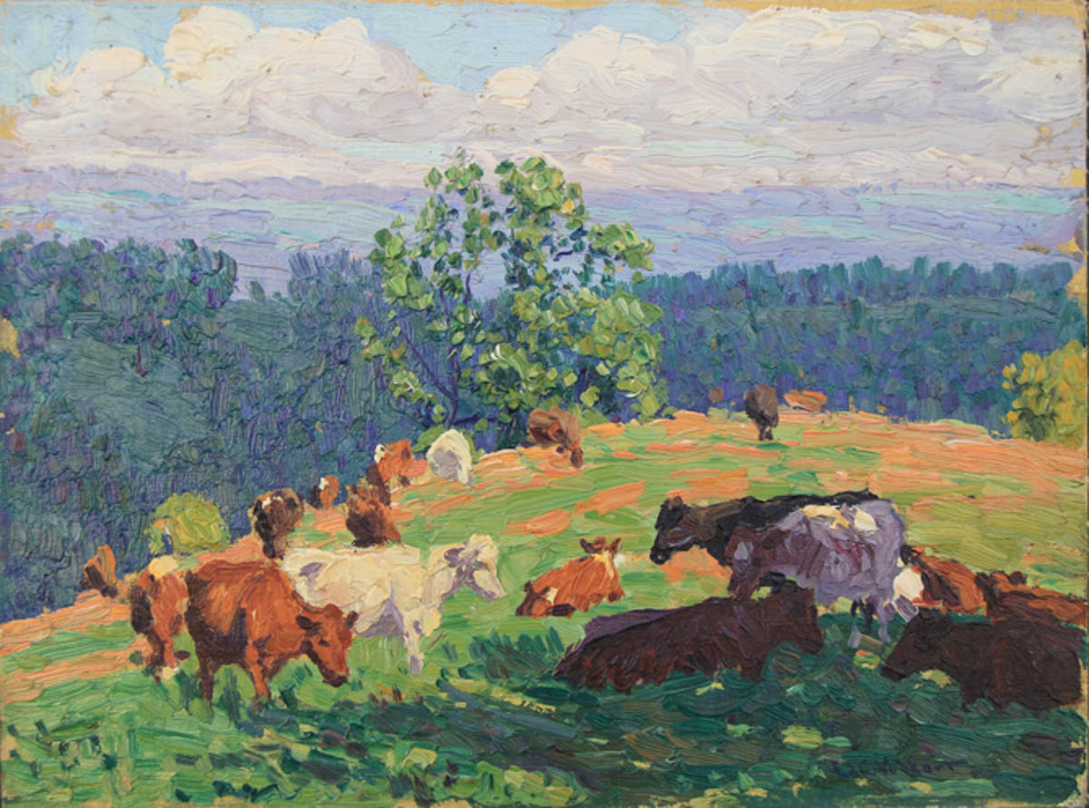 Untitled [Guernseys and white cow grazing on hill]