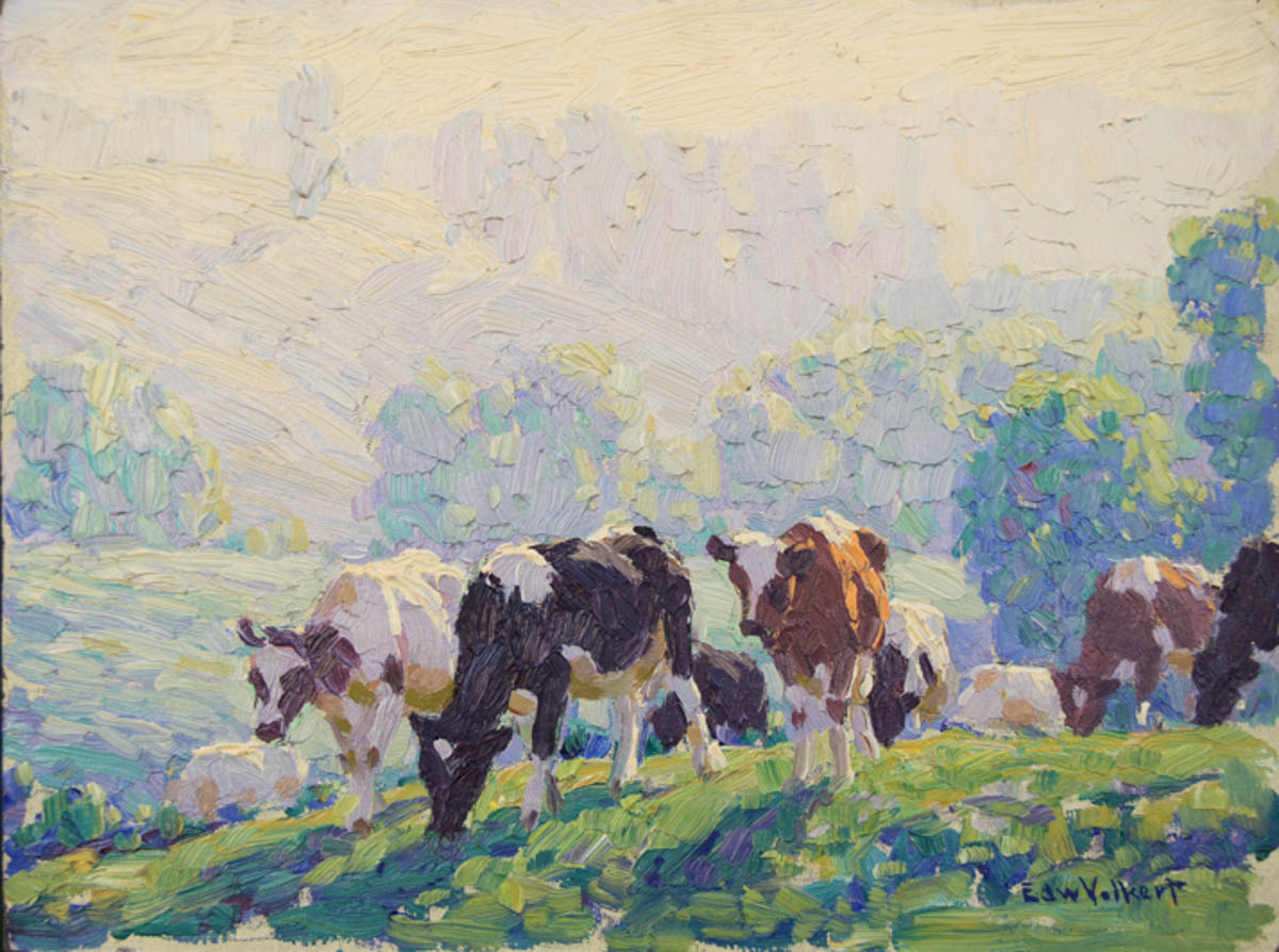 Untitled [Holsteins and Guernseys grazing on hill]