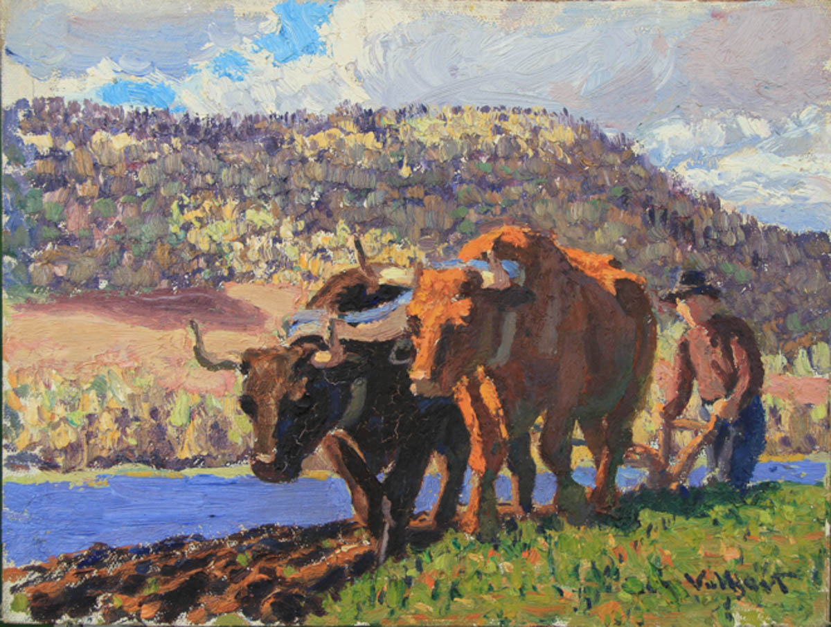 Untitled [Light and dark brown oxen plowing by water]