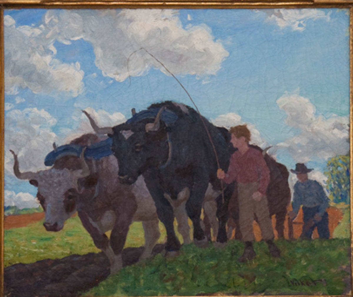Untitled [Man and Boy Plowing with Oxen]