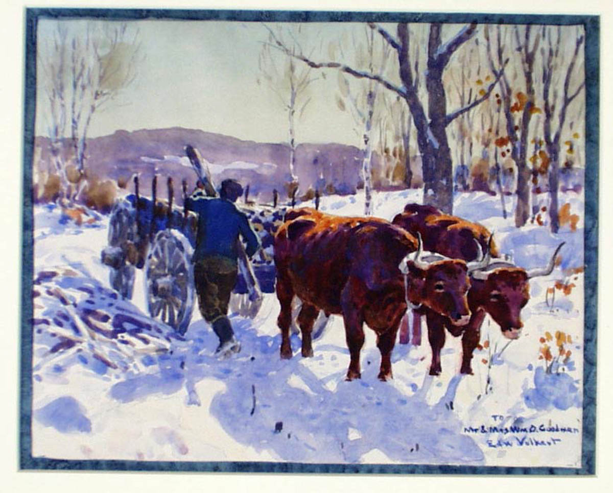 Untitled [Ox pulling wood cart in snow]