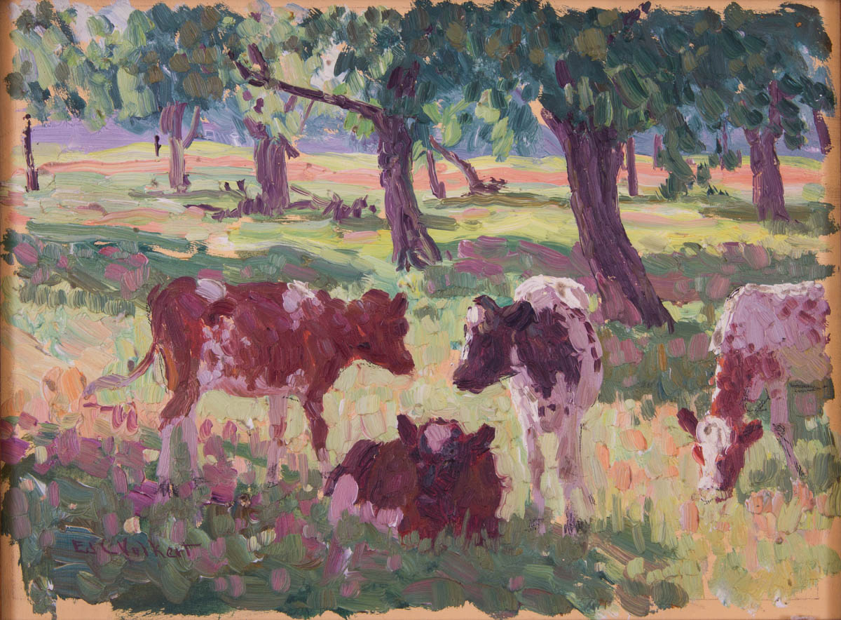 Untitled [Four cows grazing near rows of trees]