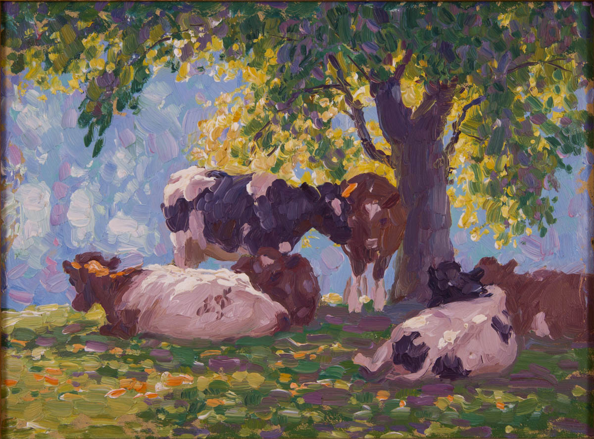 Untitled [Cows under tree on hilltop]