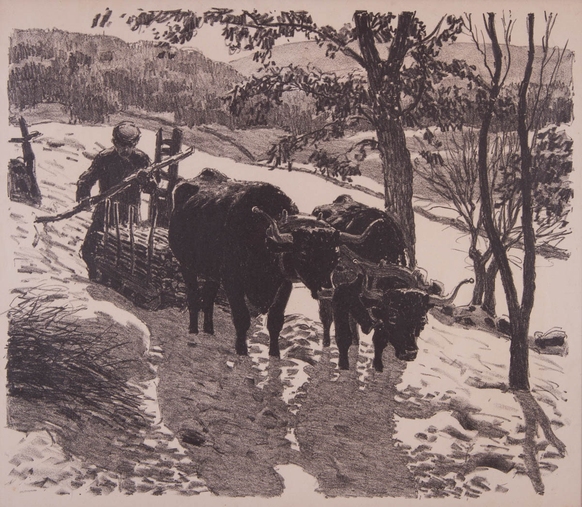 Untitled [Oxen pulling skid of wood fence posts in early winter]