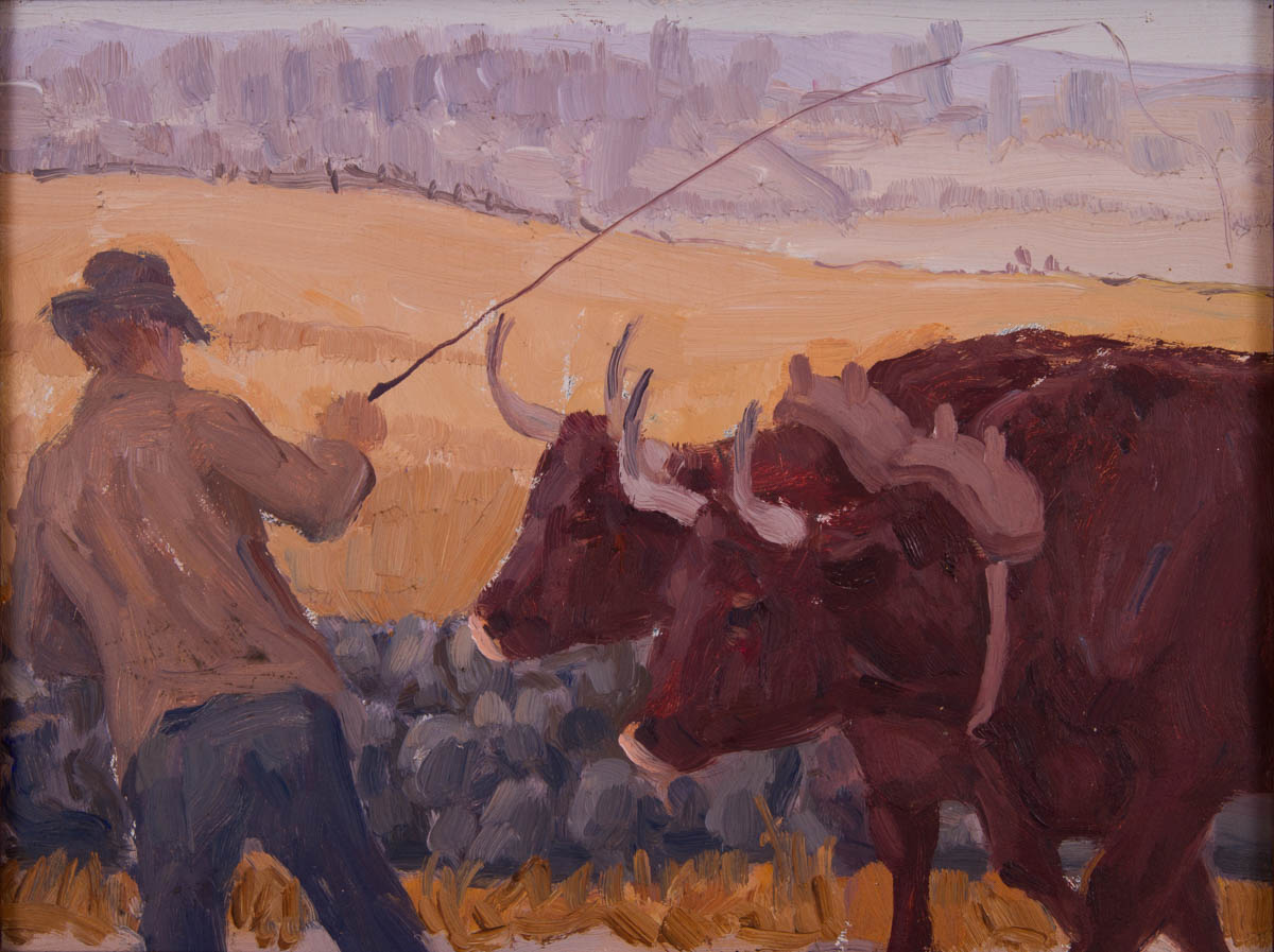 Farmer and Pair of Oxen