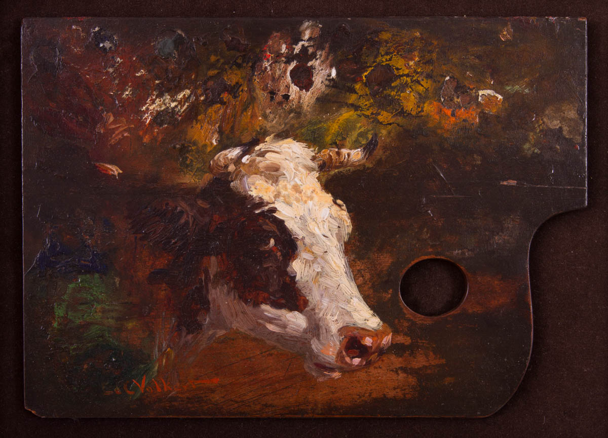 Untitled [Cow's head on painter's palette]