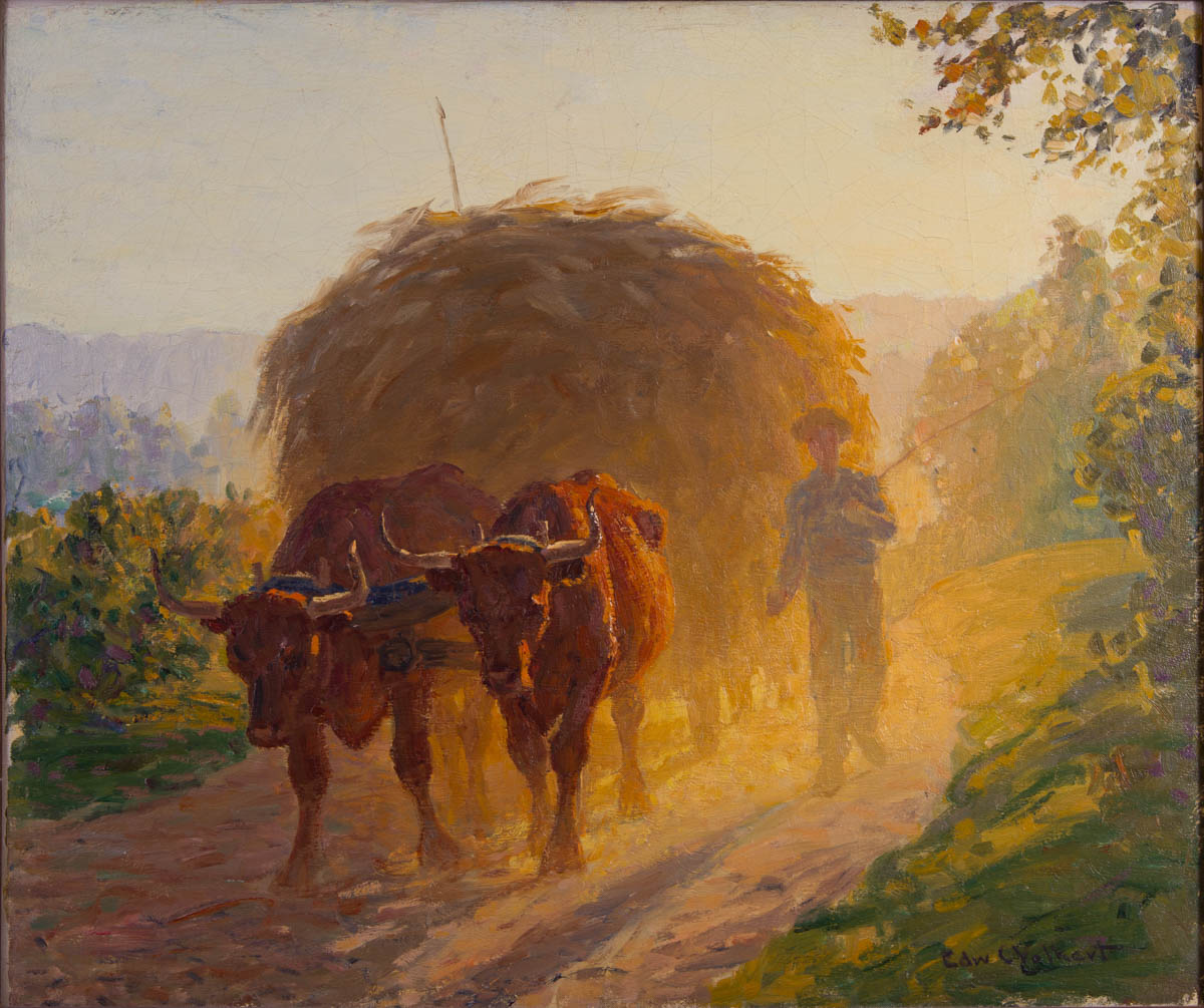 Untitled [Ox cart with farmer and hay on dusty road]