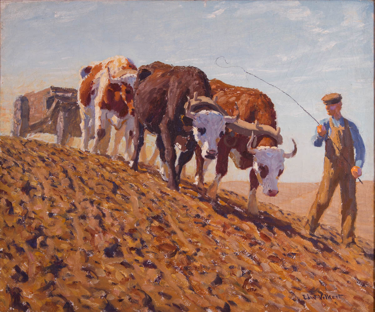 Untitled [Farmer and four oxen pulling cart across plowed field]