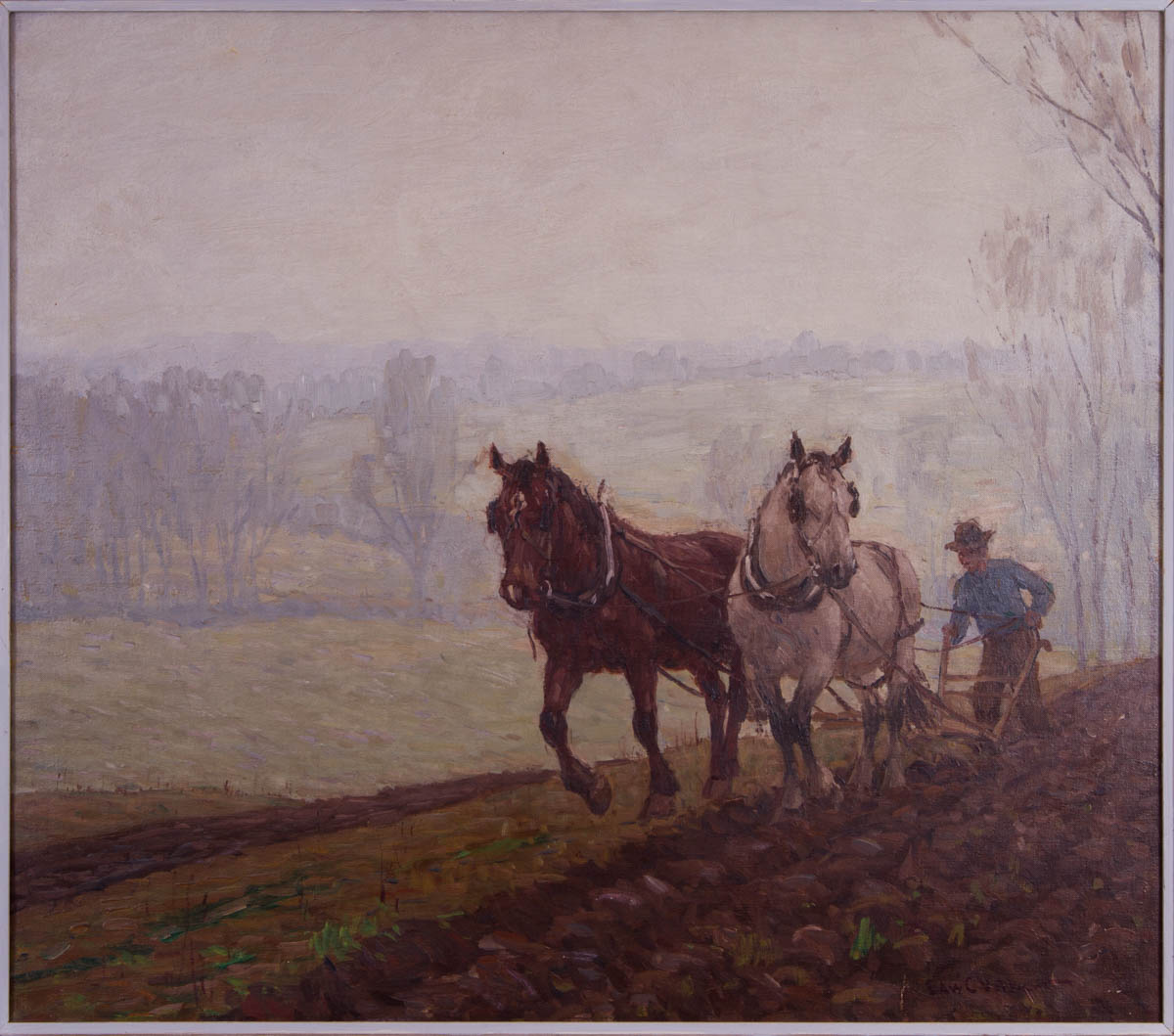 Untitled [Two horses plowing field in early spring]