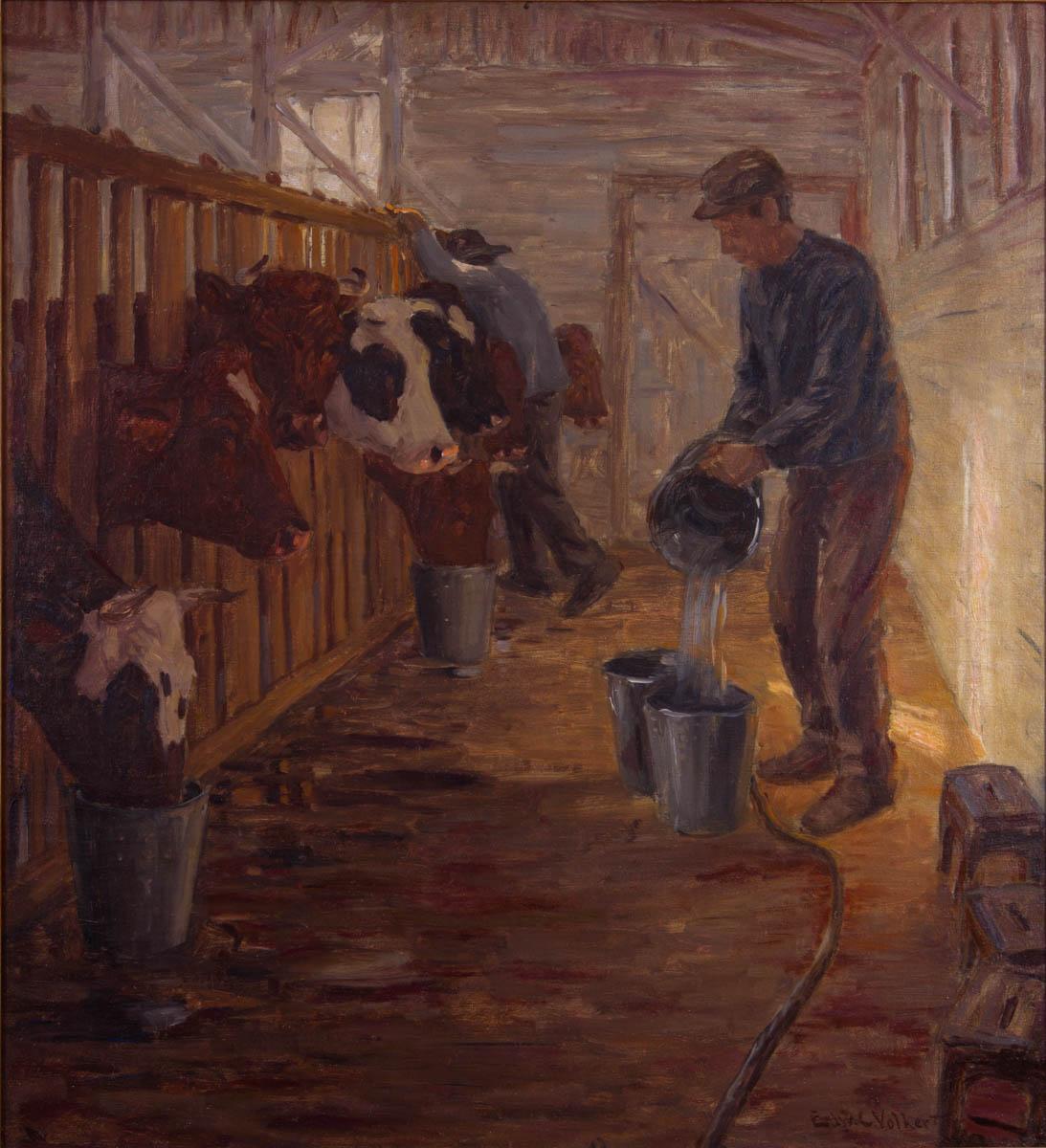 Untitled [Farmer watering cows in a barn]
