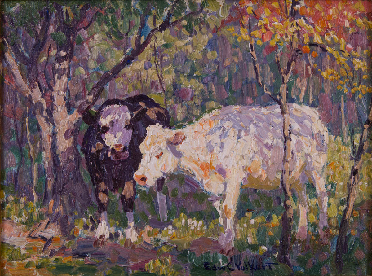 Untitled [Dark and light cows under shade trees]
