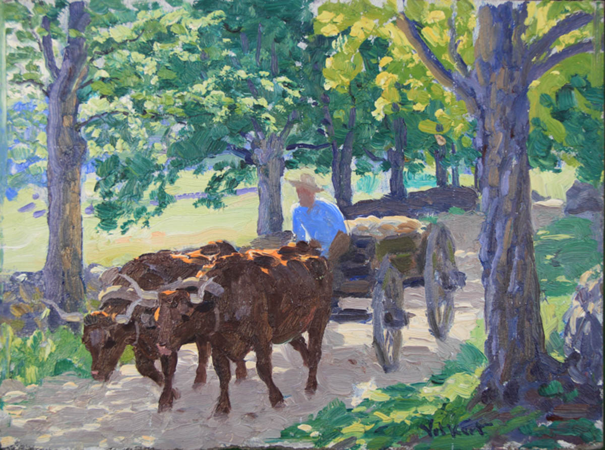 Untitled [Two brown oxen pulling man in cart]