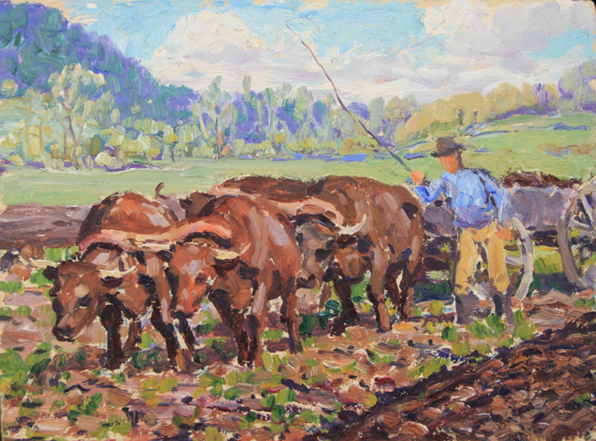 Untitled [Four brown oxen pulling cart with man beside]