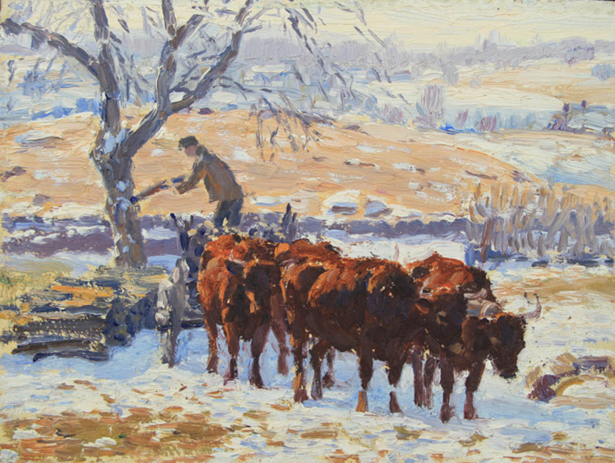 Untitled [Four brown oxen in snow with man in cart unloading wood]