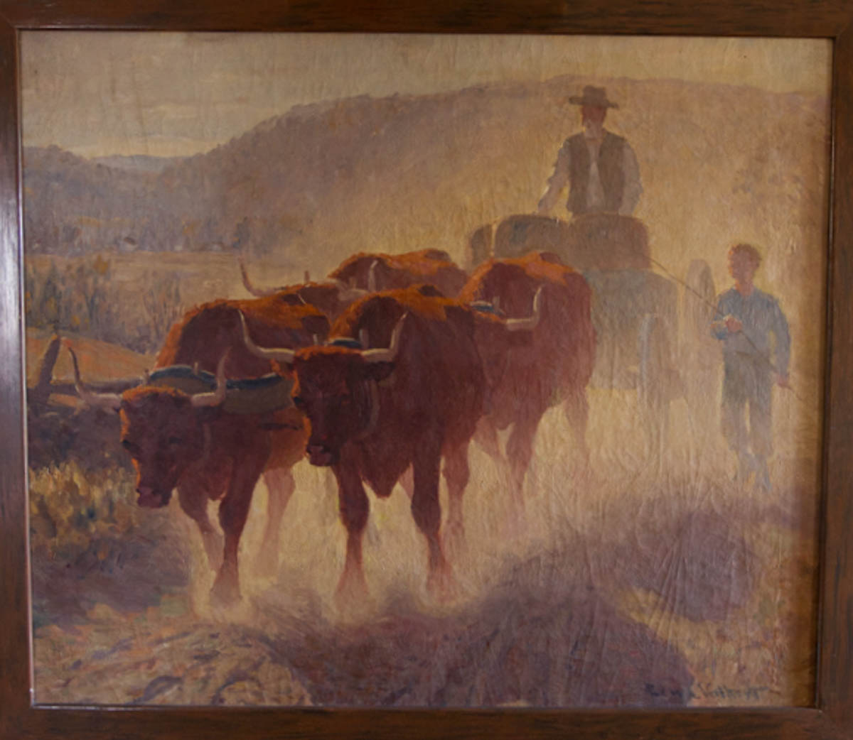 Untitled [Oxen and two drivers on a dusty road]