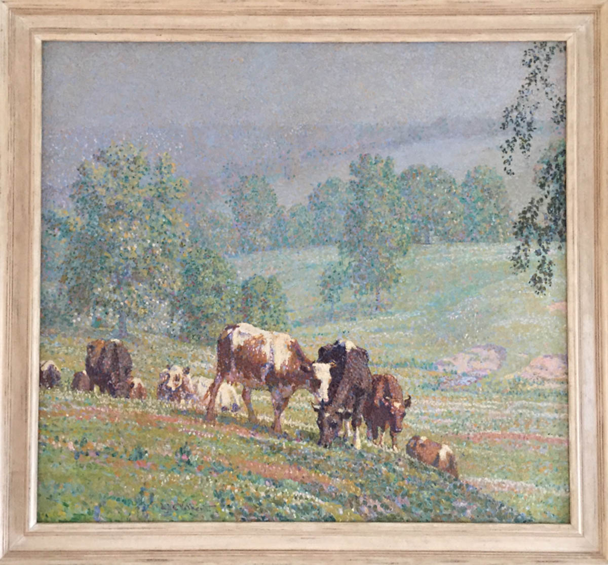 Untitled [Cows grazing on steep slope, dotted brushwork]