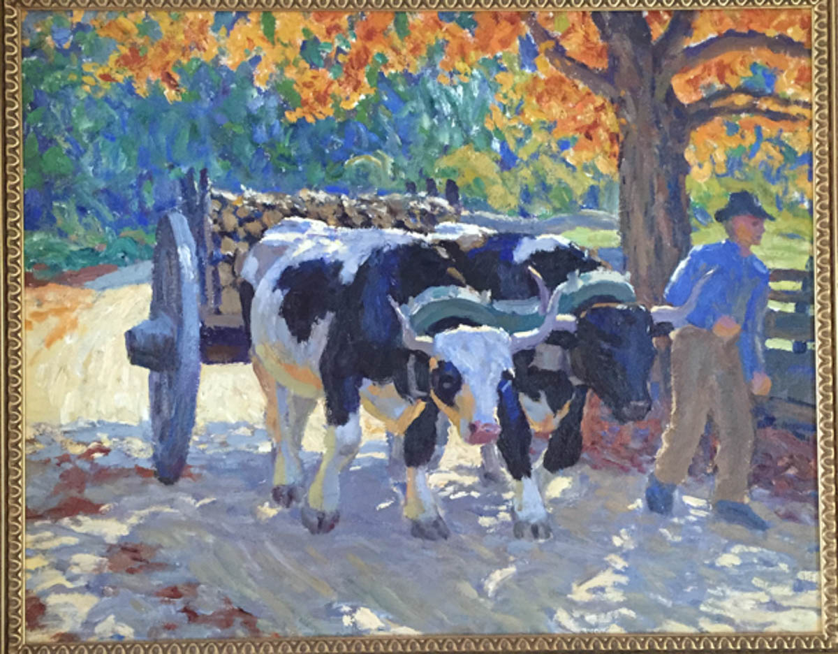 Untitled [Ox team pulling load of wood in fall]