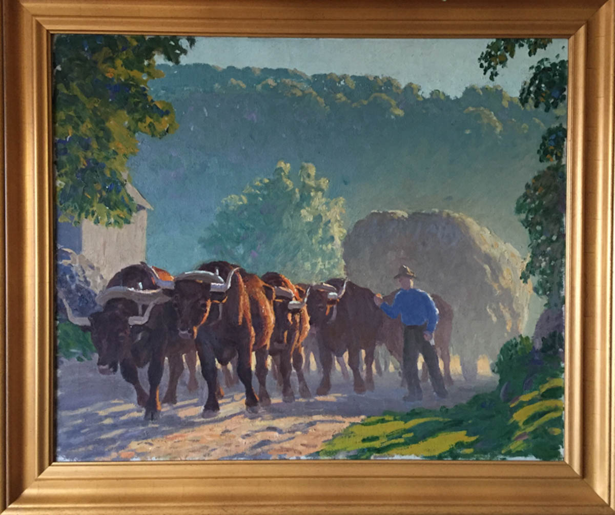 Untitled [Six-oxen team pulling hay past barn]