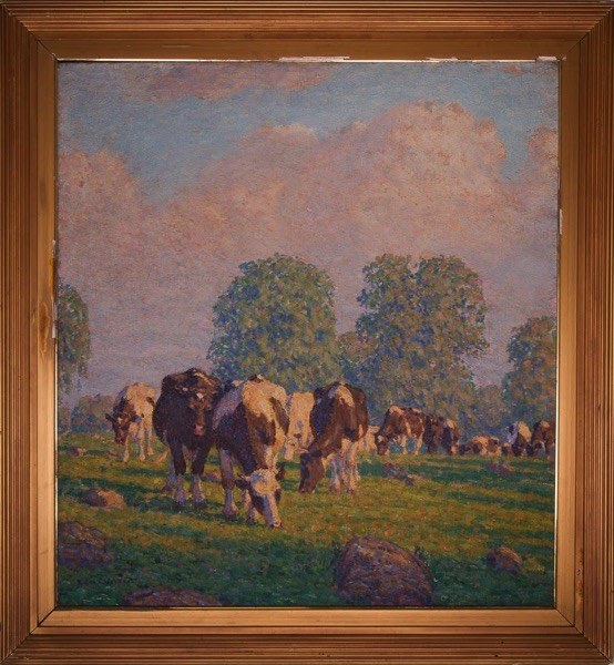 Untitled [Holsteins on a hill]