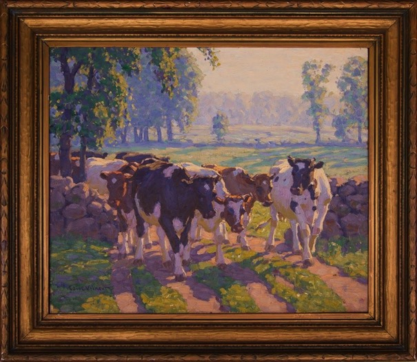 Summer Morning[Holsteins and Guernseys coming through an opening in stone wall]