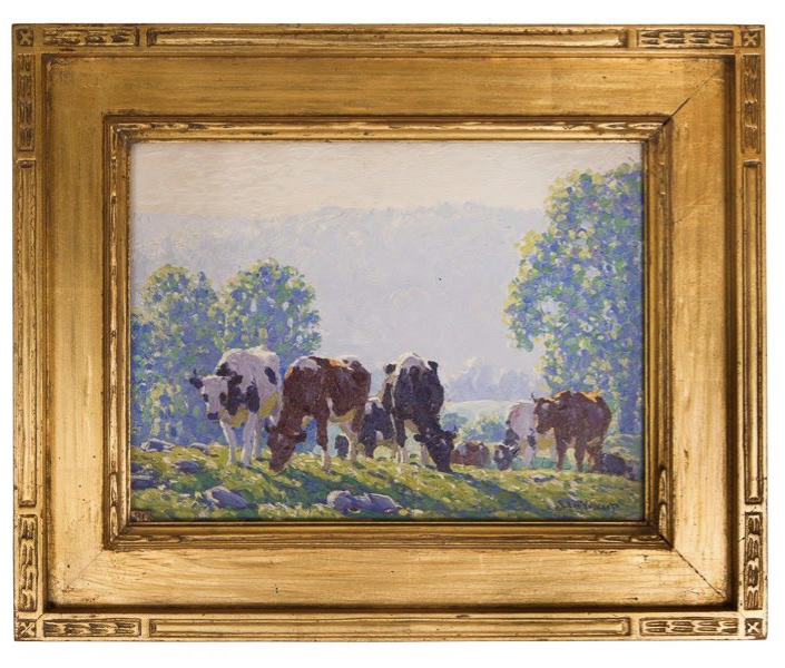 Untitled [Holsteins and Guernseys on Hill in Morning]