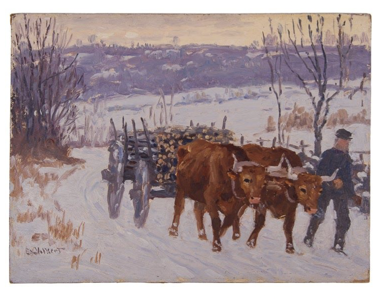 Untitled [Man with two oxen pulling wood cart in snow]