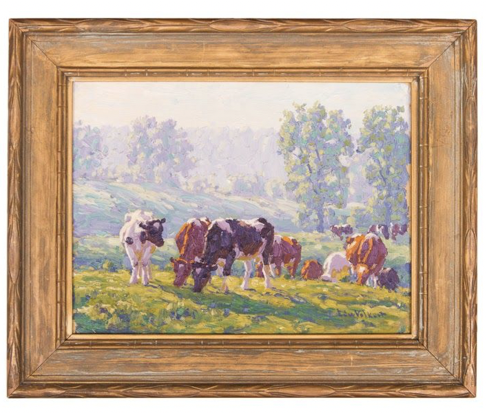 Untitled [Holsteins and Guernseys on a morning hillside]