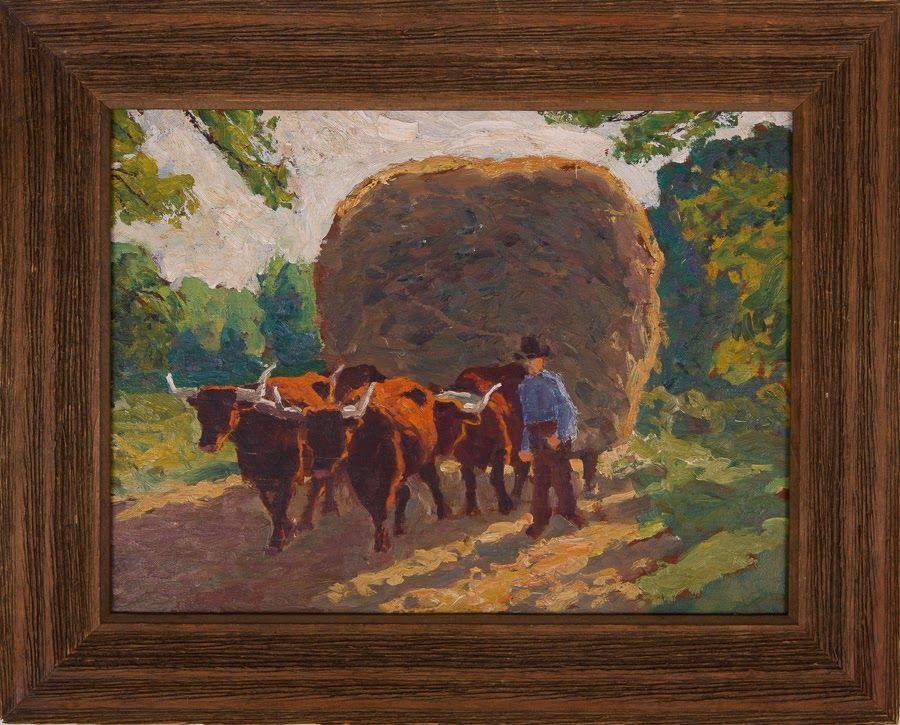 Untitled [Man with four oxen pulling load of hay]