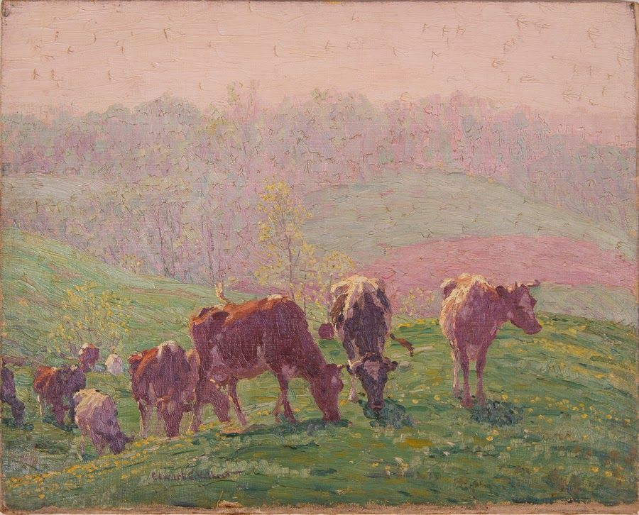 Untitled [Guernseys and Holsteins on hill with hazy mauve background]